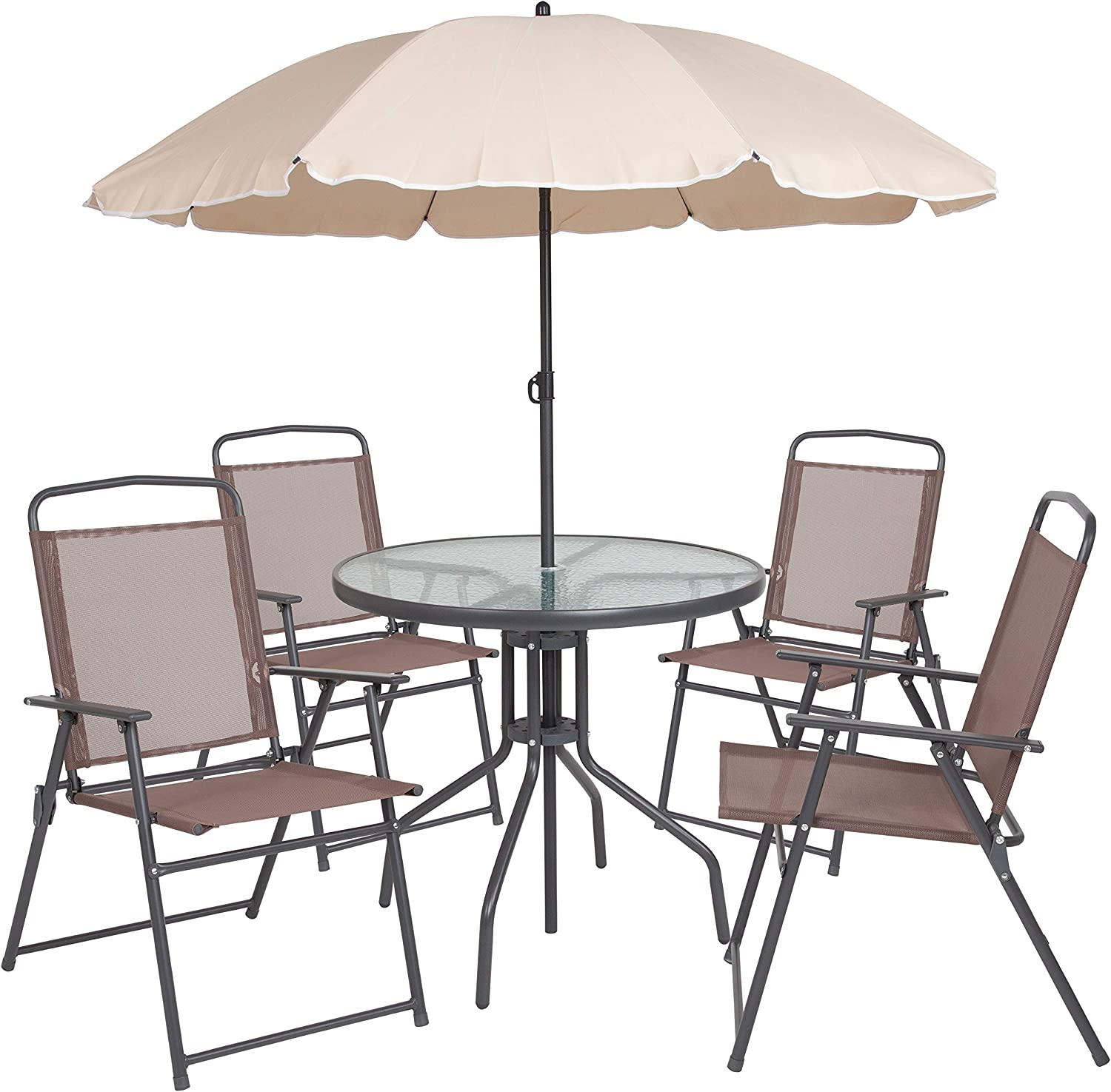Flash Furniture Nantucket 8 Piece Brown Patio Garden Set with Table, Tan  Umbrella and 8 Folding Chairs