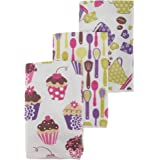 Cupcake/Teacup Pattern Microfiber Tea Towel Set (Pack Of 3) (One Size) (White)