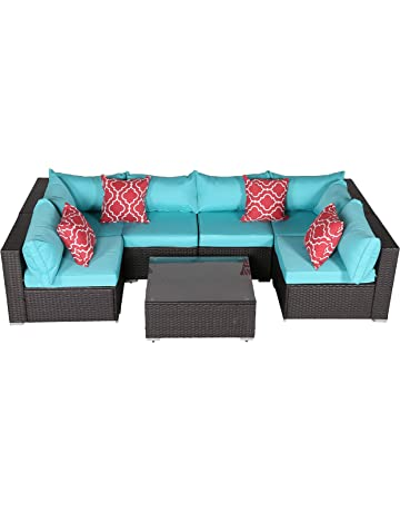 Do4U 7 PCs Outdoor Patio PE Rattan Wicker Sofa Sectional Furniture Set  Conversation Set  Turquoise