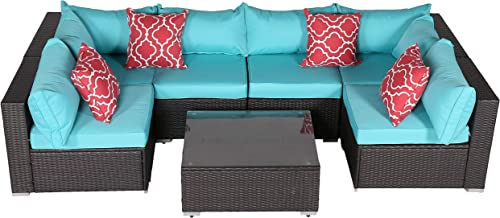 Do4U Patio Sofa 7-Piece Set Outdoor Furniture Sectional All-Weather Wicker Rattan Sofa Turquoise Seat Back Cushion