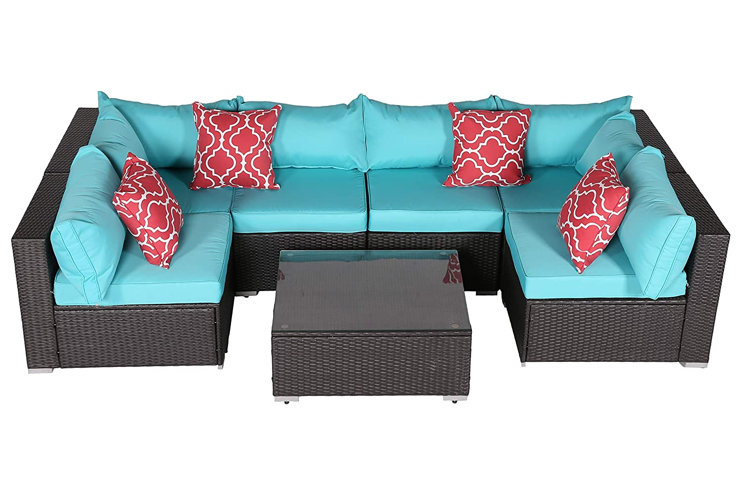 Do4U Patio Sofa 7-Piece Set Outdoor Furniture Sectional All-Weather Wicker Rattan Sofa Turquoise Seat & Back Cushions, Garden Lawn Pool Backyard Outdoor Sofa Wicker Conversation Set (7555-Turquoise)
