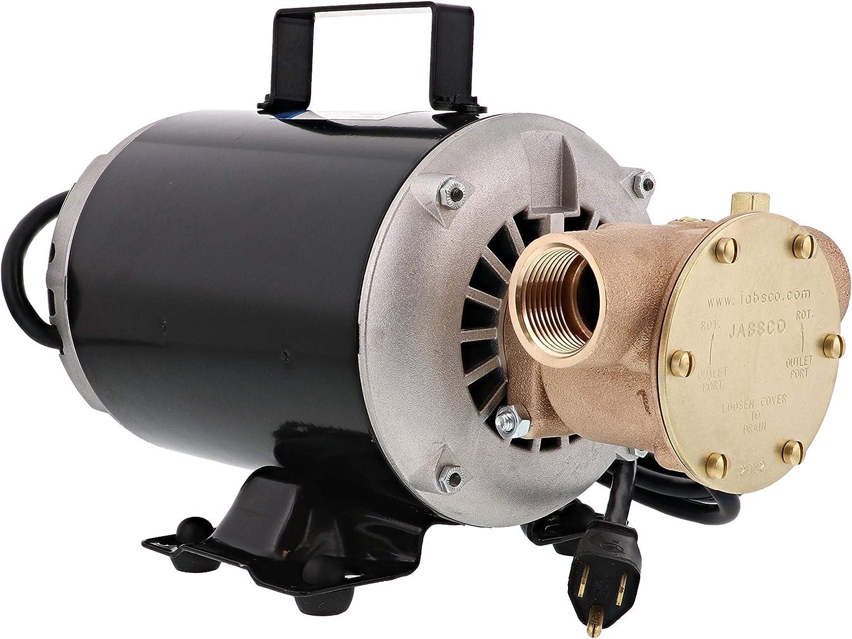 "Jabsco 6050-0003 Marine Series Utility General Purpose Pump (110-Volt, Nitrile Impeller, Open Drip Proof Moto Non-CE, 1"" NPT Ports), Bronze"