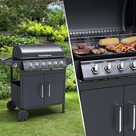 BillyOh Matrix Silver 6+1 Burner Gas BBQ Gas Barbecue Grill with Side Burner and Side Shelf Large BBQ with Storage