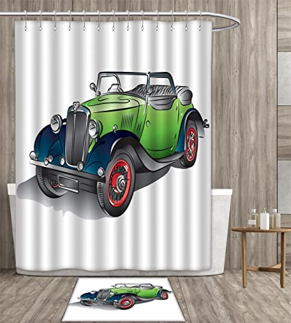 Cars Shower Curtain Customize Hand Drawn Convertible Vintage Green Car With Colorful Rims Retro Vehicle Design