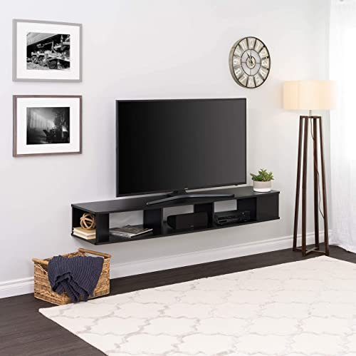Prepac 70 Wide Wall Mounted TV Stand, 70 inch, Black