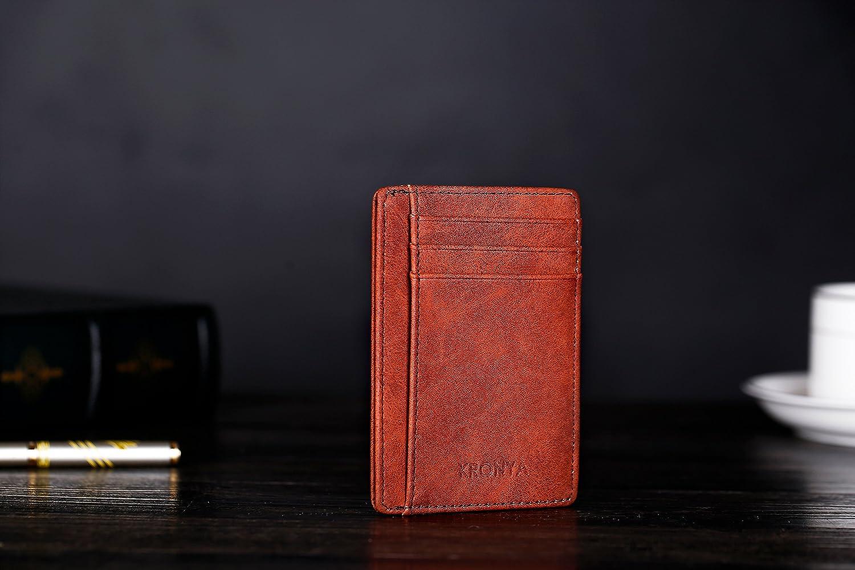 Braun Kronya/® Elegante Geldb/örse aus Leder mit RFID-Schutz Brieftasche Etui Geldbeutel Geldklammer Halter Halterung Kartenetui Kartenhalter Kreditkartenetui Kreditkartenhalter
