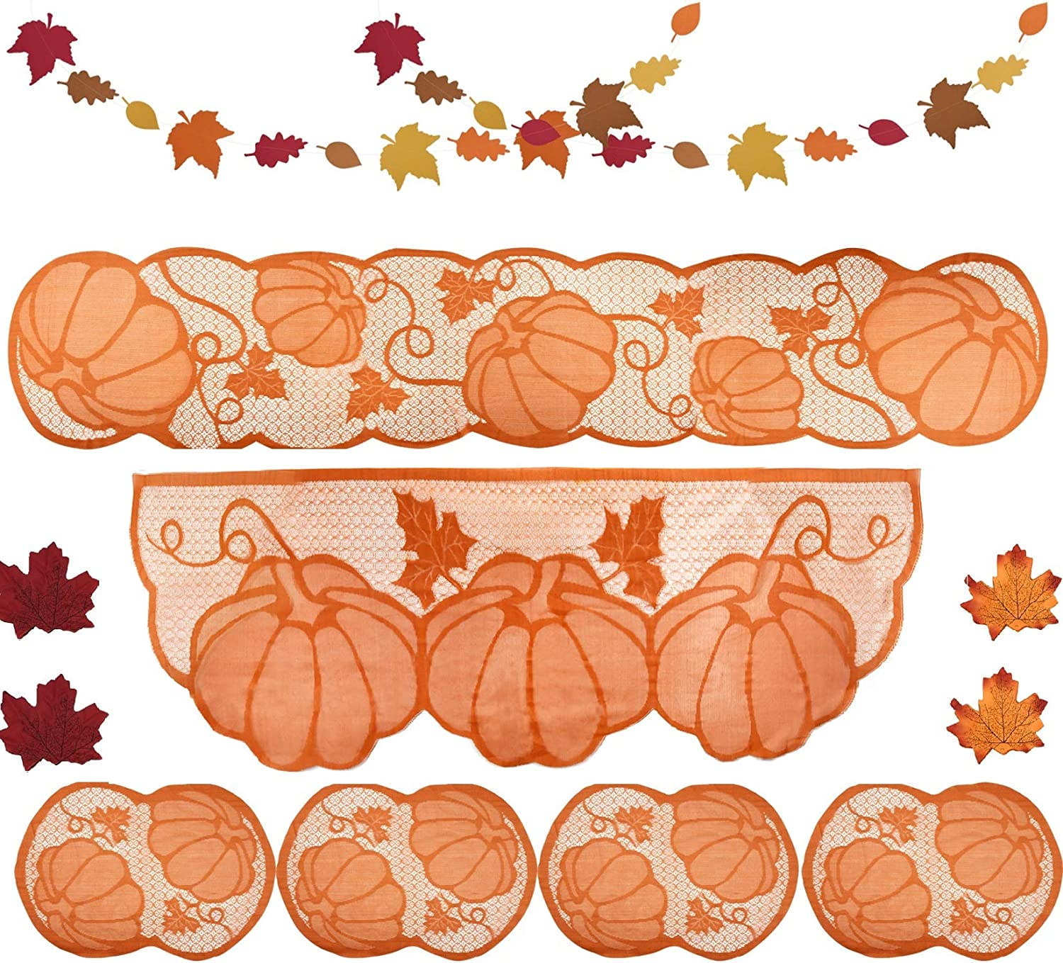 8Pack Thanksgiving Decoration Tablecloth Thanksgiving Placemats Table Runner Thanksgiving Fireplace Mantel Scarf Fall Lace Home Decoration with Banner and Leaves for Thanksgiving Autumn Party