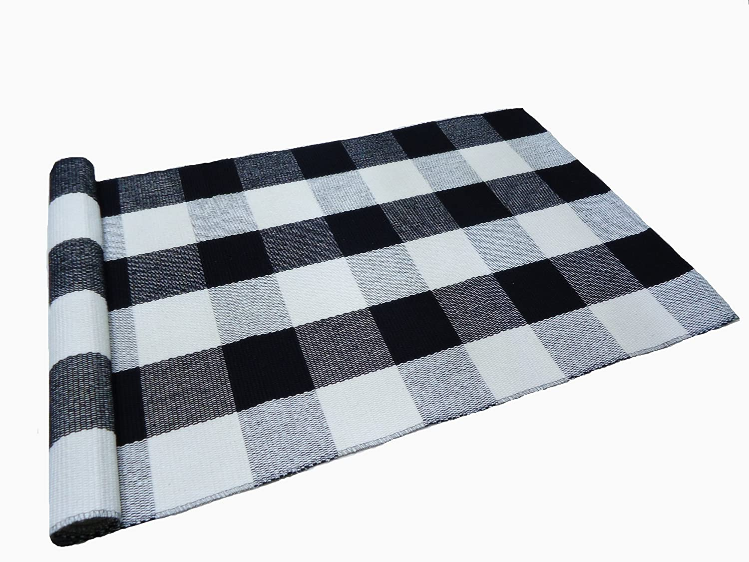 Amazon.com: Buffalo Checked Braided Kitchen Mat Black and White Area ...