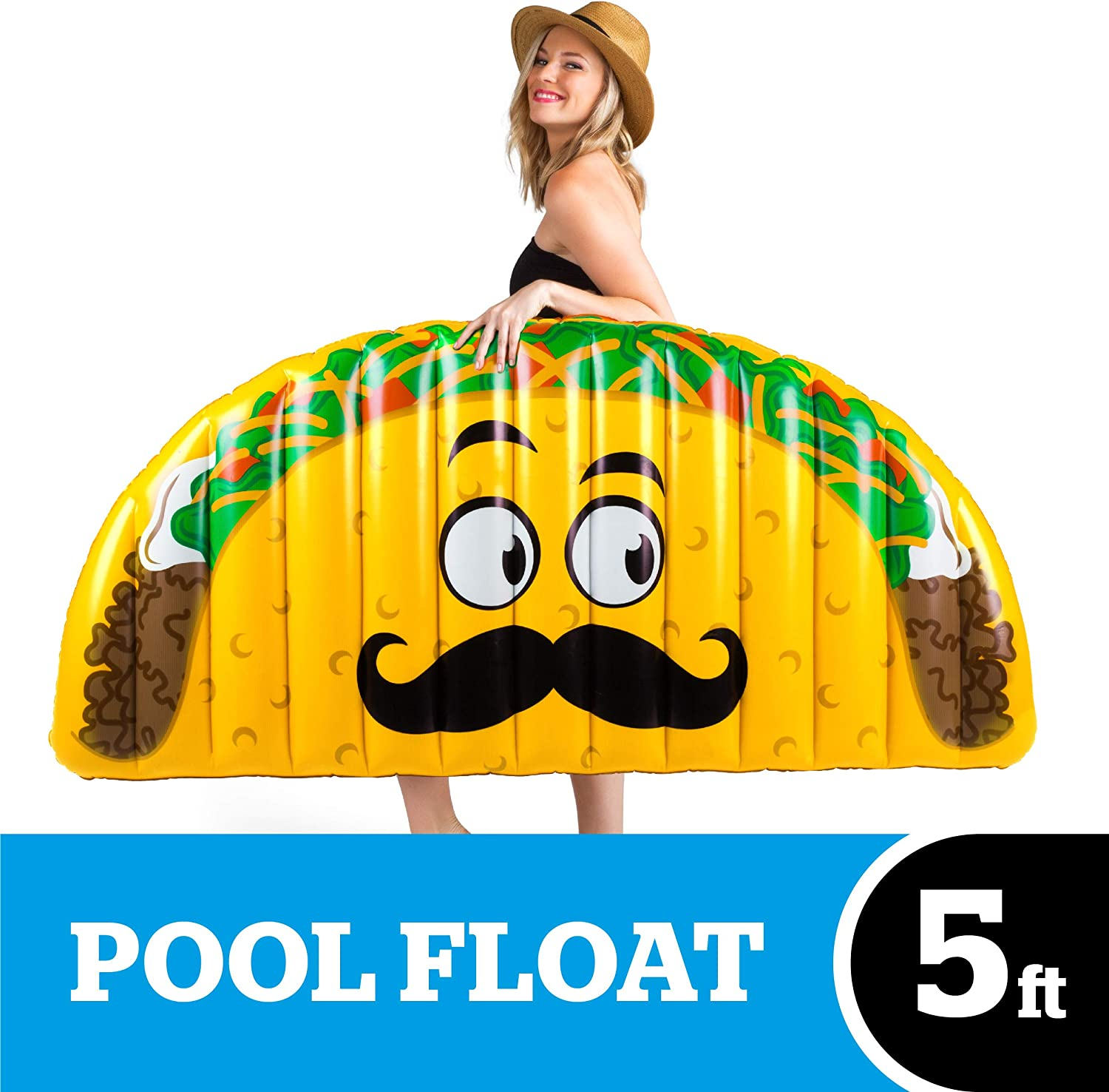 BigMouth Inc Giant Inflatable Taco Pool Floats, Durable Pool Tube with Patch Kit Included