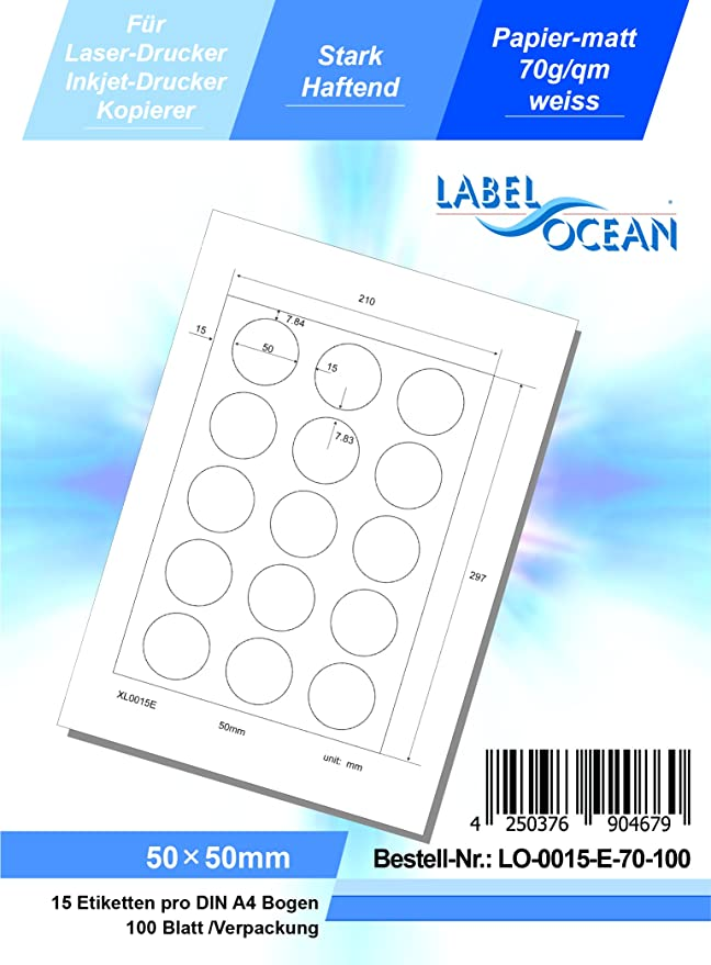LabelOcean LO-0015-E-70-100 Universal Etiketten, 100 Blatt 70g/qm ...
