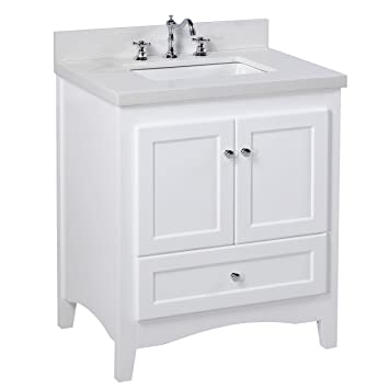 Abbey 30 Inch Bathroom Vanity (Quartz/White): Includes A White Cabinet