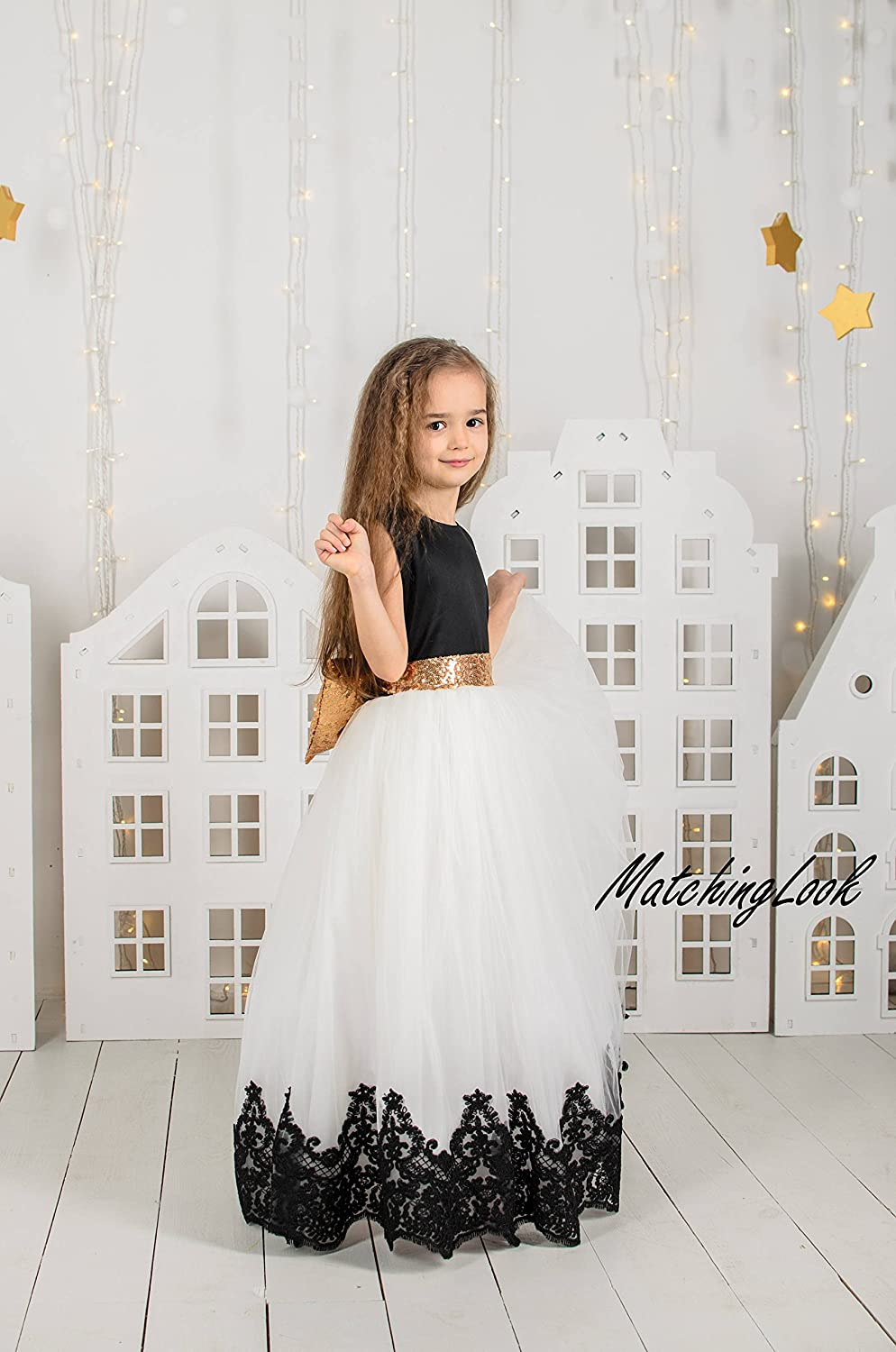 7ae831baf7 Amazon.com: Black and White First Birthday Dress Dresses Long Girl Birthday Tutu  Dress Outfit Lace Flower Girl Dress Ivory Tutu Dress Black Baby Dress: ...