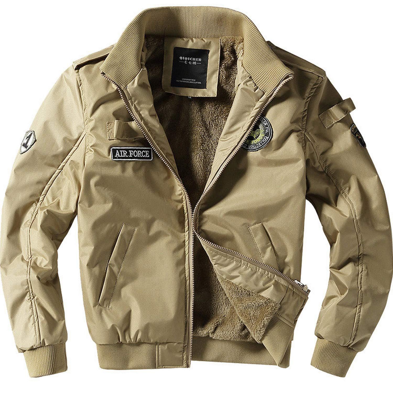 Military Jacket Men Pilot Jackets Fleece Parkas Coat Embroidery Cargo Windbreaker Flight Jackets,Khaki Thick,L