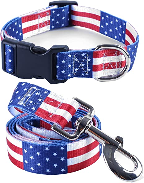 1 Inch Width Dog Collar Snoopy Patriotic 4th of July Adjustable Length