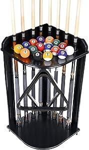 Iszy Billiards 8 Pool Cue Rack Only- Billiard Stick Stand Holds 8 Cues & Ball Set Choose Mahogany, Dark Oak or Black Finish