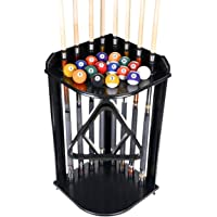 Pool Cue Rack Only- Billiard Stick Stand Holds 8 Cues & Ball Set Choose Mahogany, Oak or Black Finish