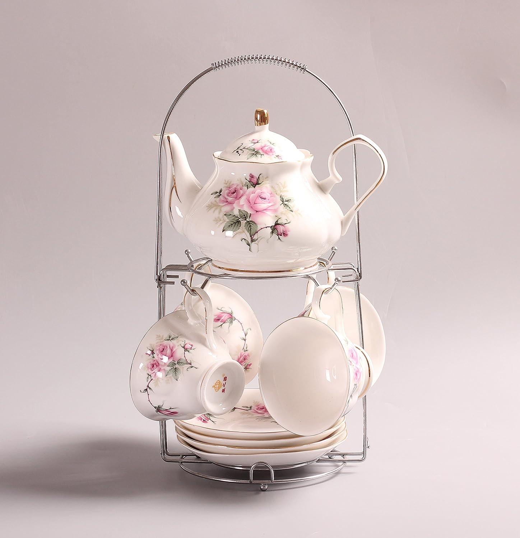 Bureau 9 Pi/èces Europ/éen Vintage Service /À Th/é Porcelaine avec Titulaire en M/étal Mariage Motif de Camellia Rose et Jante Dor/ée Service /À Caf/é,pour M/énage