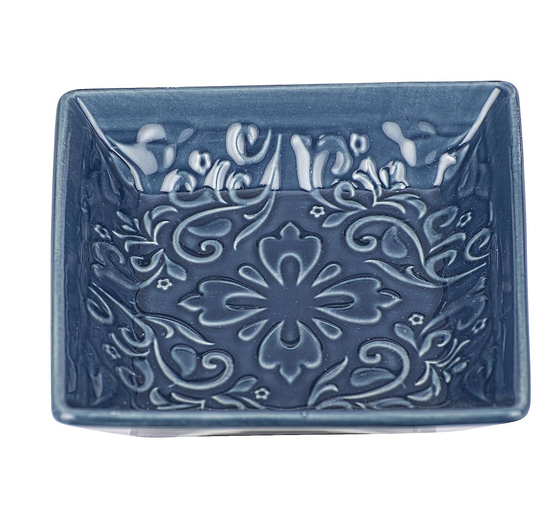 Wenko Seifenablage Cordoba Blau Seifenschale Dunkelblau 10.5 x 10.5 x 2.5 cm Keramik