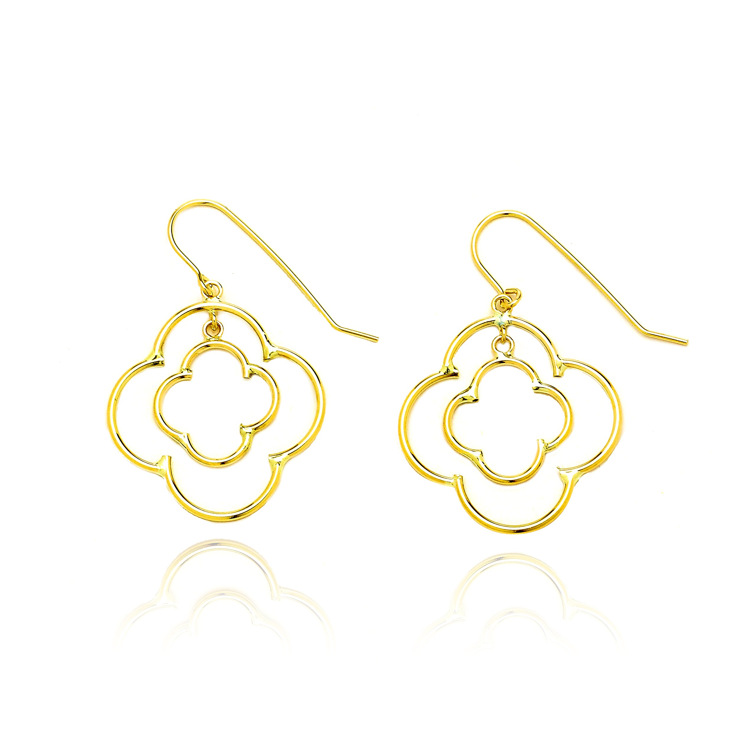 14k Yellow Gold Double Quatrefoil Drop Earring with Fish Hook in Gift Box for Women and Teen Girls