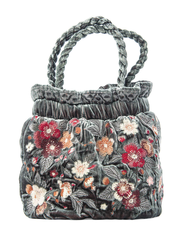 Johnny Was Kira Velvet Pouch Flower Bag Handbag Steel Rose Purse Top Handle New