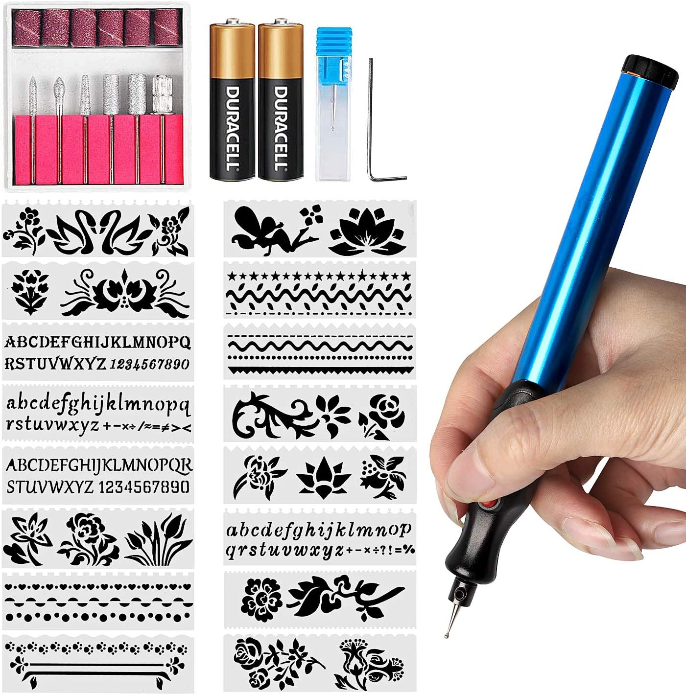 Blue Engraving Pen 15pcs DIY Electric Engraving Engraver Pen Carve Tool Fit for Jewelry Metal Glass for Kids Toy Sporting Gear Gift Tool