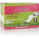Silvercare Protection Féminine Protège-Slips Anatomiques 100% Pur Coton Bio Emballage Individuel Boîte de 24 Unités