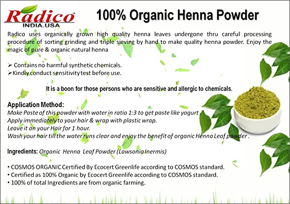 Buy Radico 100 Pure Organic Natural Chemical Free Henna Powder