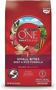 Purina ONE Smartblend Natural Small Bites Beef & Rice Formula Adult Dry Dog Food - (6) 4 Lb. Bag