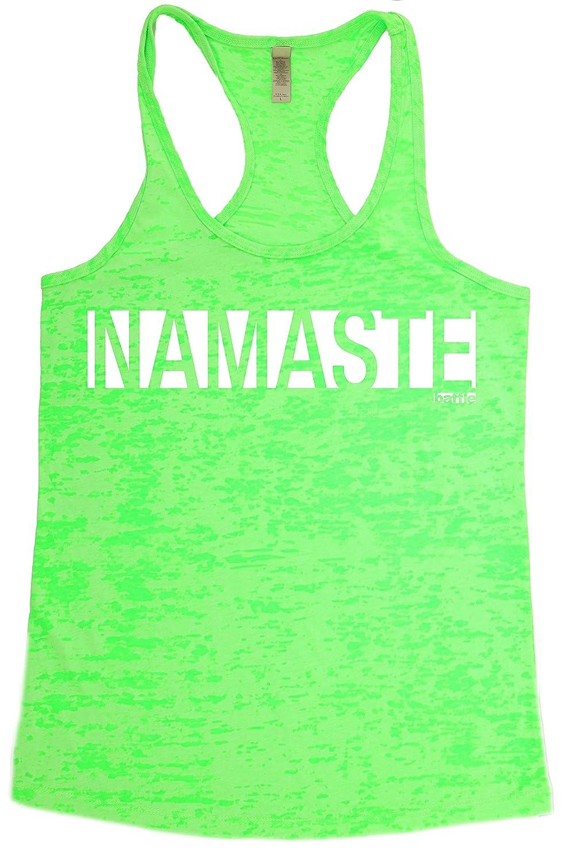 "Baffle ""Namaste"" White Vinyl Text - Womens Burnout Racerback Tank"