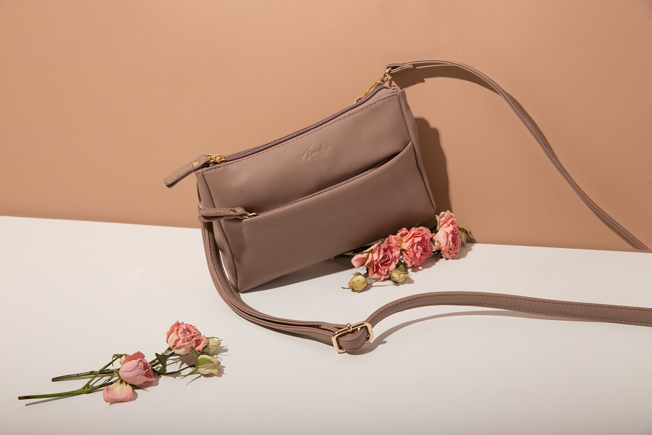 Double Zip Small Crossbody Bag Satchel for Women by AMELIE GALANTI (Image #5)