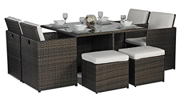 savannah giardino rattan garden furniture glass cube dining table 8 seater of 4 high back