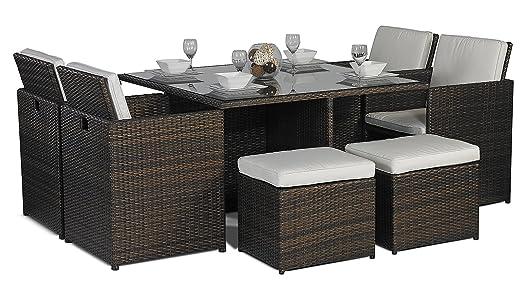 savannah giardino rattan garden furniture glass cube dining table 8 seater of 4 high back - Rattan Garden Furniture 4 Seater