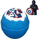 Superhero BUBBLE Bath Bomb with Surprise Minifigure Inside - in Gift Box - Big Blue Kids Bath Fizzy By Two Sisters Spa - For Boys and Girls - Homemade by Moms in the USA