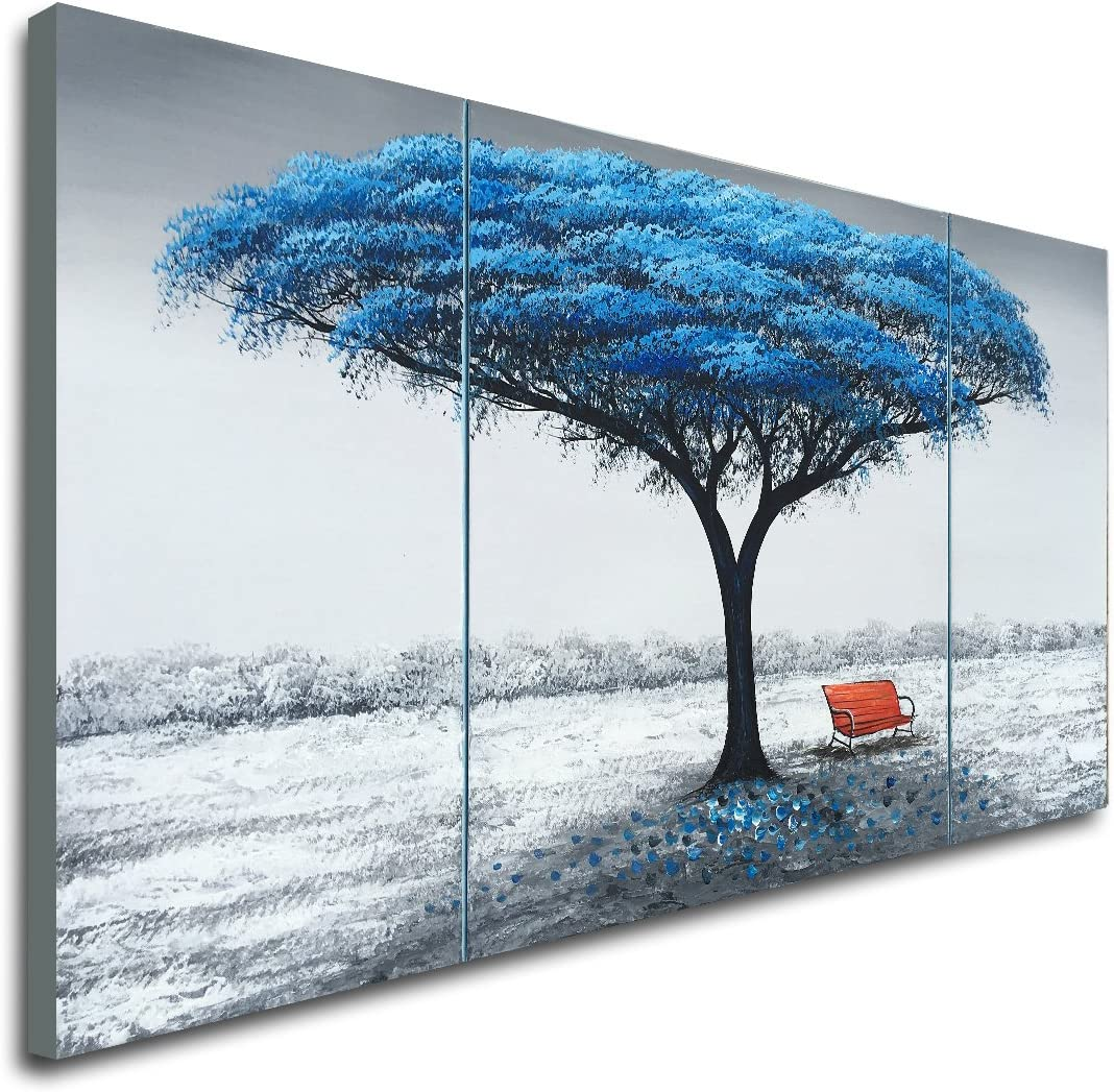 Hand Painted Blue Tree Oil Painting on Canvas Landscape Wall Art Decor Picture
