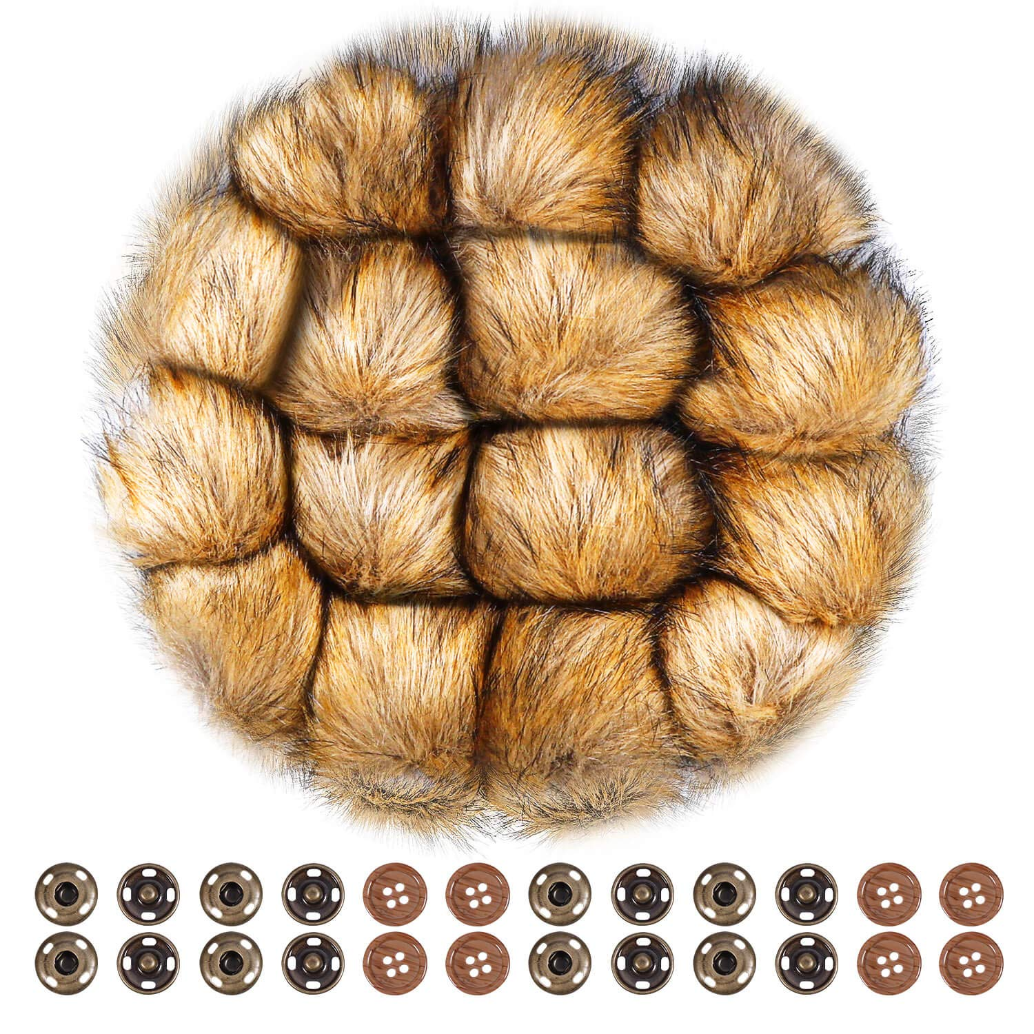 Anezus 15 Pieces Faux Fur Pom Poms for Hats with Press Button and Sewing Buttons Knitting Accessories for Crocheted Hats Bag Charm Christmas Decoration