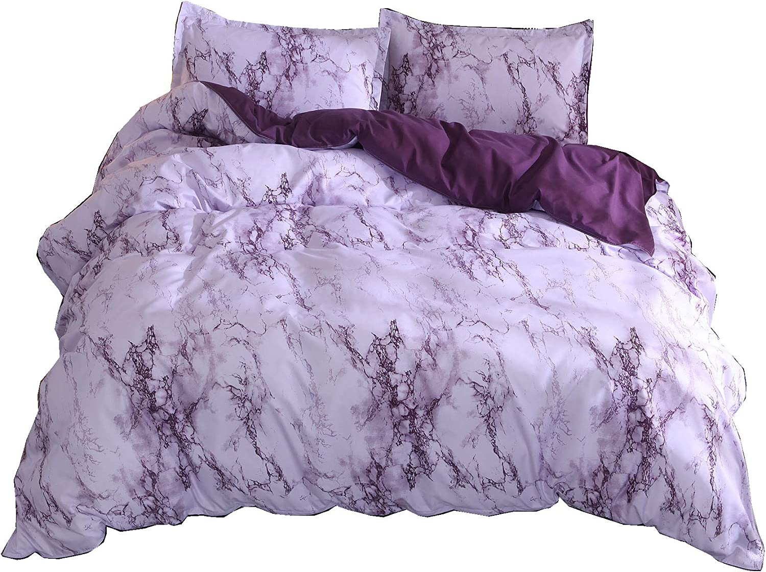 A Nice Night Lightweight Microfiber Quilt Cover Bedding Duvet Cover Set,Purple Marble - Full Size