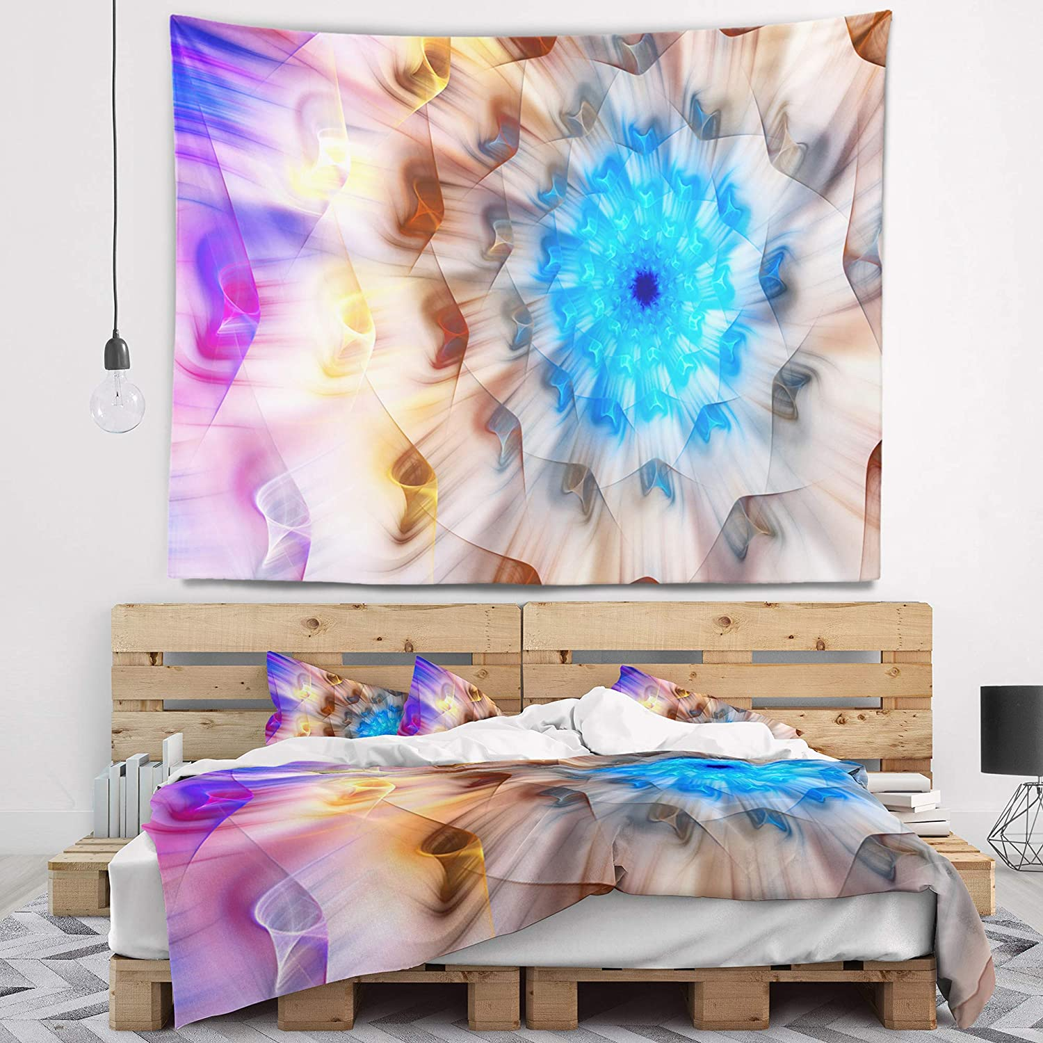 in Designart TAP15508-60-50  Blue Fractal Petals Dandelion Floral Blanket D/écor Art for Home and Office Wall Tapestry Large x 50 in 60 in