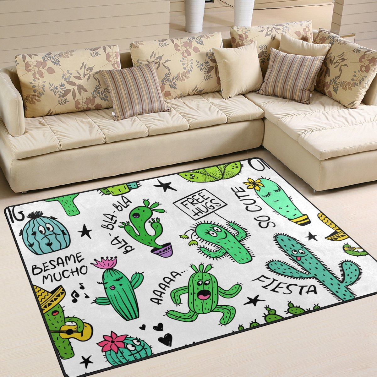 ALAZA Funny Cartoon Cactus Succulent Plant Kids Area Rug, Non-Slip Floor Mat Soft Resting Area Doormats for Living Dining Bedroom 5' x 7'