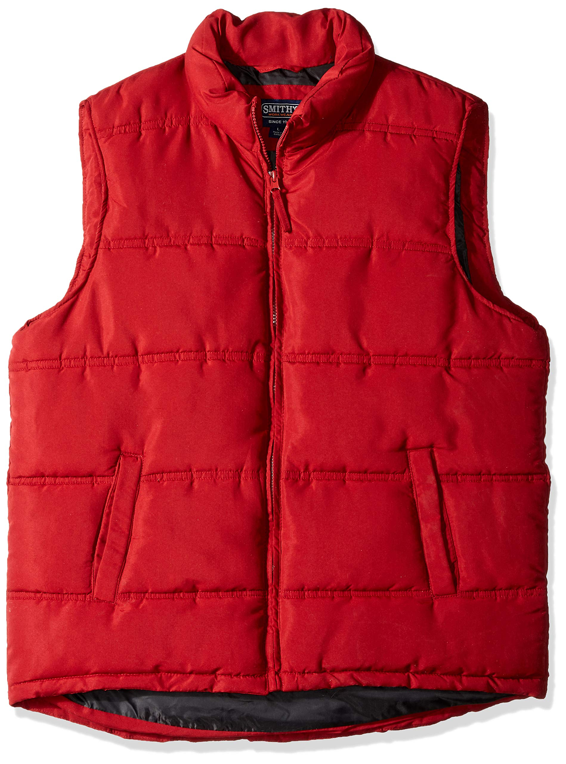 Smith's Workwear Men's Double Insulated Puffer Vest, Dark red, Large by Smith's Workwear