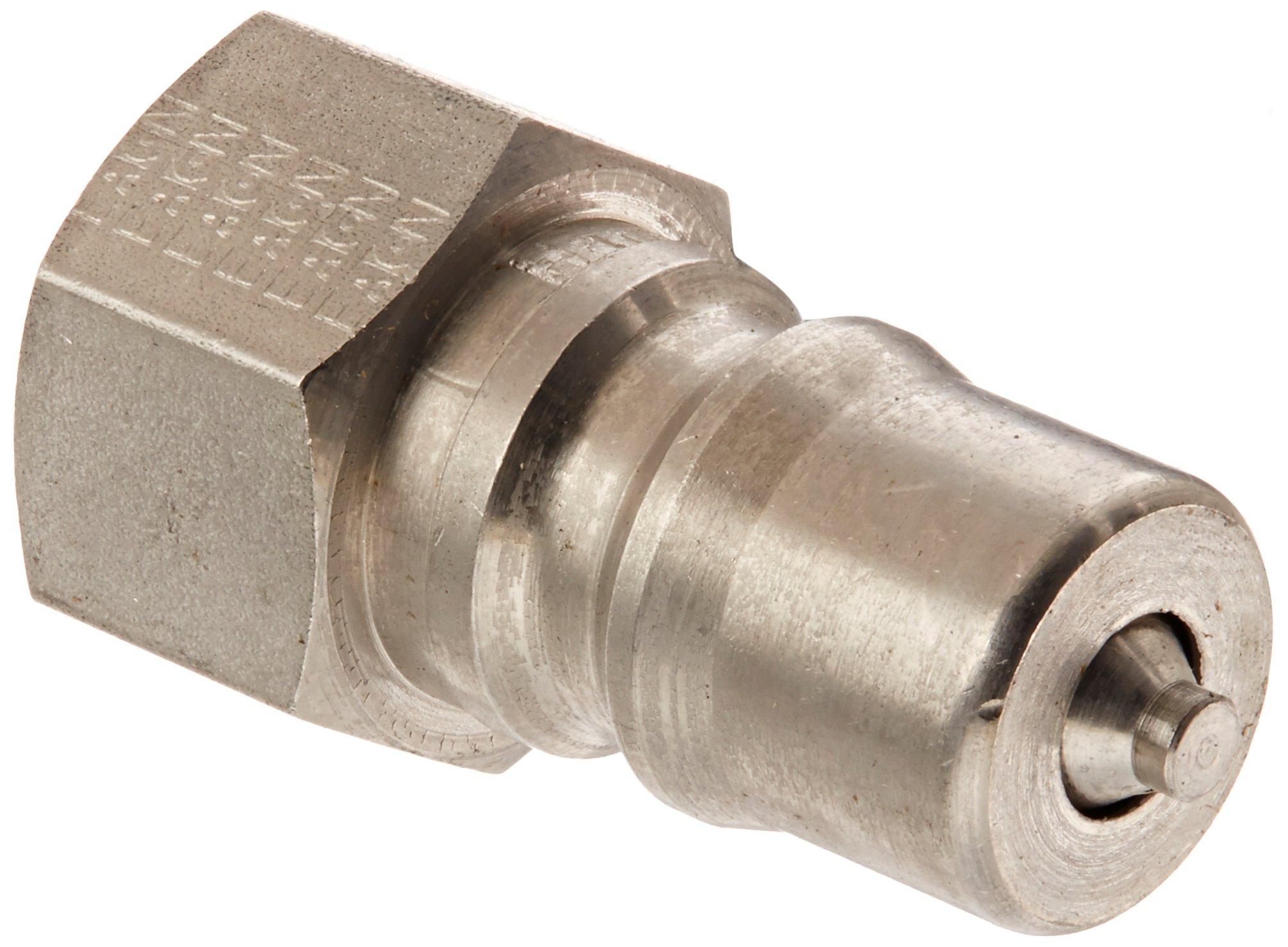 Eaton Hansen LL2K16 Stainless Steel 303 ISO-B Interchange Hydraulic Fitting, Plug with Valve, 1/4''-18 NPTF Female, 1/4'' Body