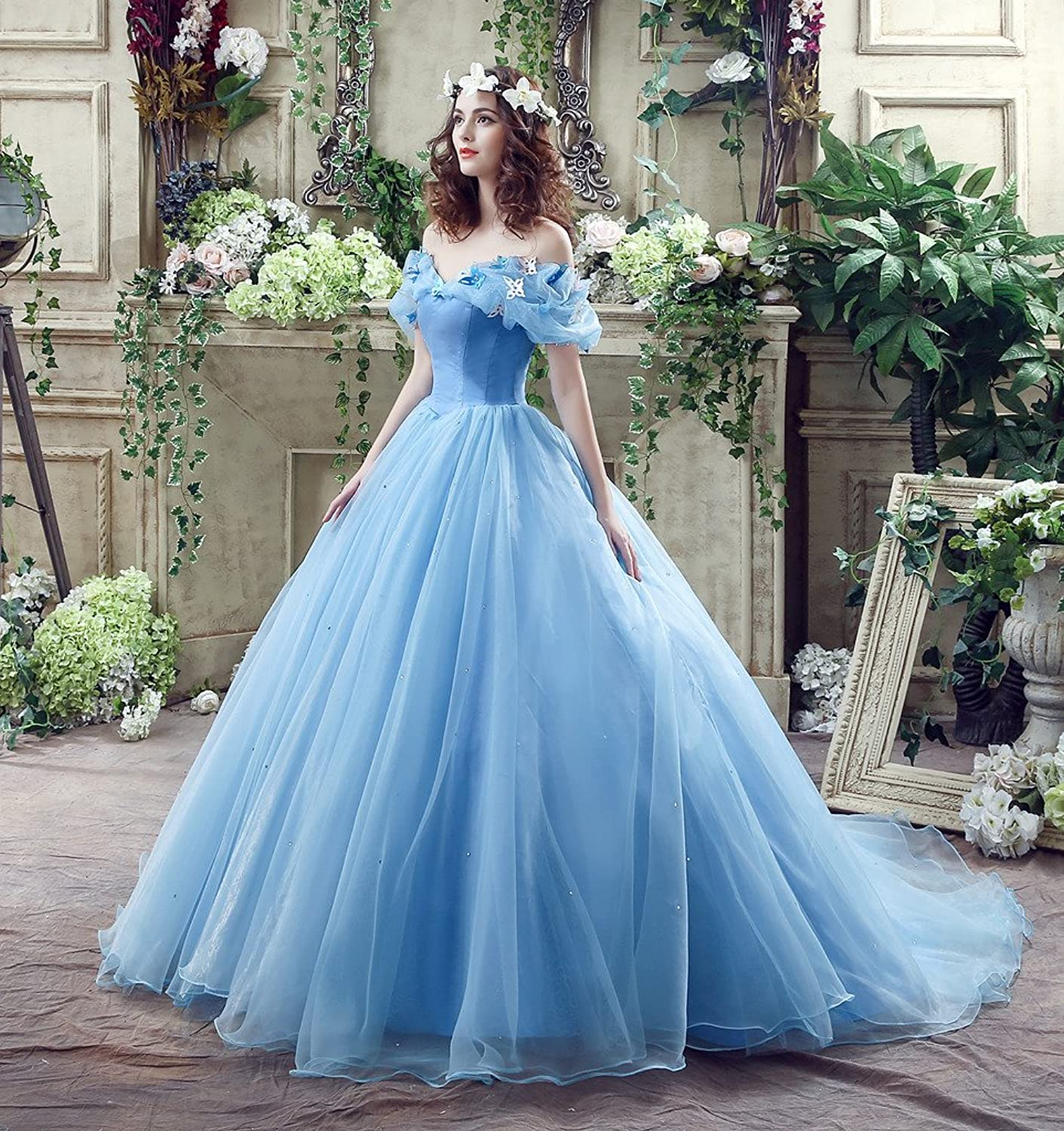 PGS Women\'s Bridal Gowns Butterfly Sweet 15 Quinceanera Wedding ...