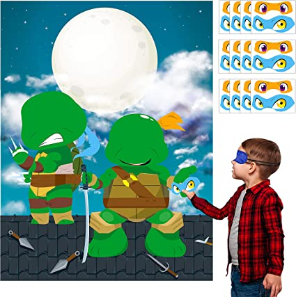 BIRTHDAY-CHILD    PARTY SUPPLIES NINJA TURTLES 8-GREEN PAPER INVITATIONS