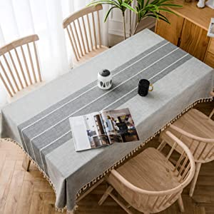"Oubonun Gray Tablecloth Embroidered Stitched with Fringe Tassels Rectangle Cotton Linen Fabric Stripe Table Cover Cloth for Kitchen Dining Patio, 55""x120"", 10-12 Seats"