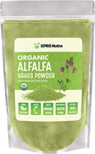 XPRS Nutra Organic Alfalfa Grass Powder - Alfalfa Supplement Contains Calcium, Antioxidants, Vitamins - Alfalfa Powder Superfood for Drinks, Smoothie, Beverage - Vegan Friendly and Non-GMO (16 oz)