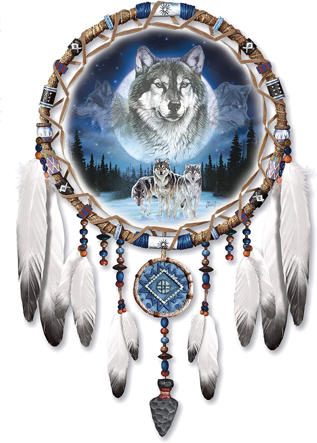 The Bradford Exchange 'Dreams of the Wild' - Native American Dreamcatcher  Style Wall Décor with Wolf Artwork: Amazon.co.uk: Kitchen & Home