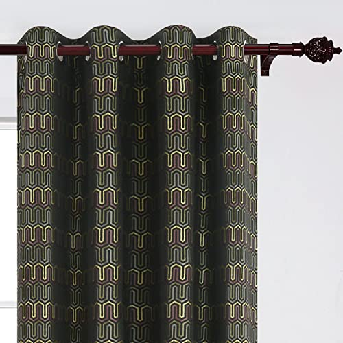 Deconovo Jacquard Thermal Insulated Window Treatment Panels Zigzag Pattern Grommet Curtains for Living Room, 52×84, Atrovirens