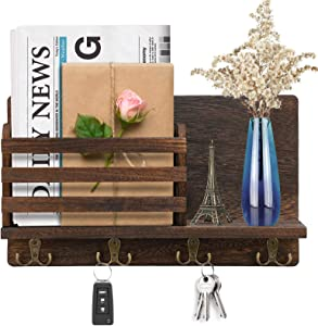 Wooden Wall Mounted Mail and Key Holder, Mail Letter Sorter Organizer Key Holder Hooks Rack Hanging with 4 Double Key Hooks, Cap Rack Floating Shelf Rustic Home Decor for Entryway, Kitchen, Mudroom