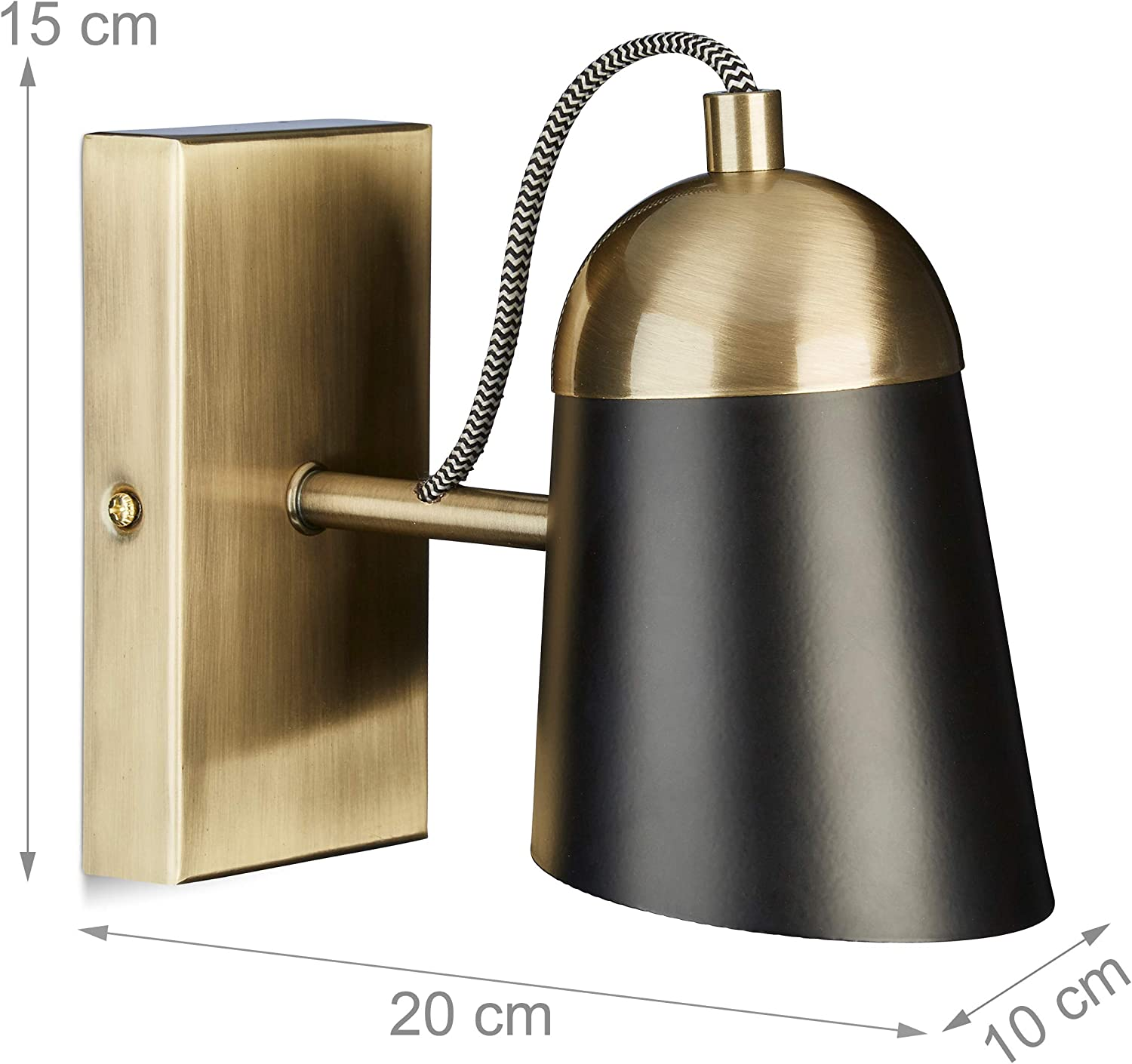 1 Socket Brown Silver Relaxdays Half-Round Wall Lamp E14 HxWxD: 17 x 25 x 12.5 cm Linen 10028062/_93 Iron Two-Sided