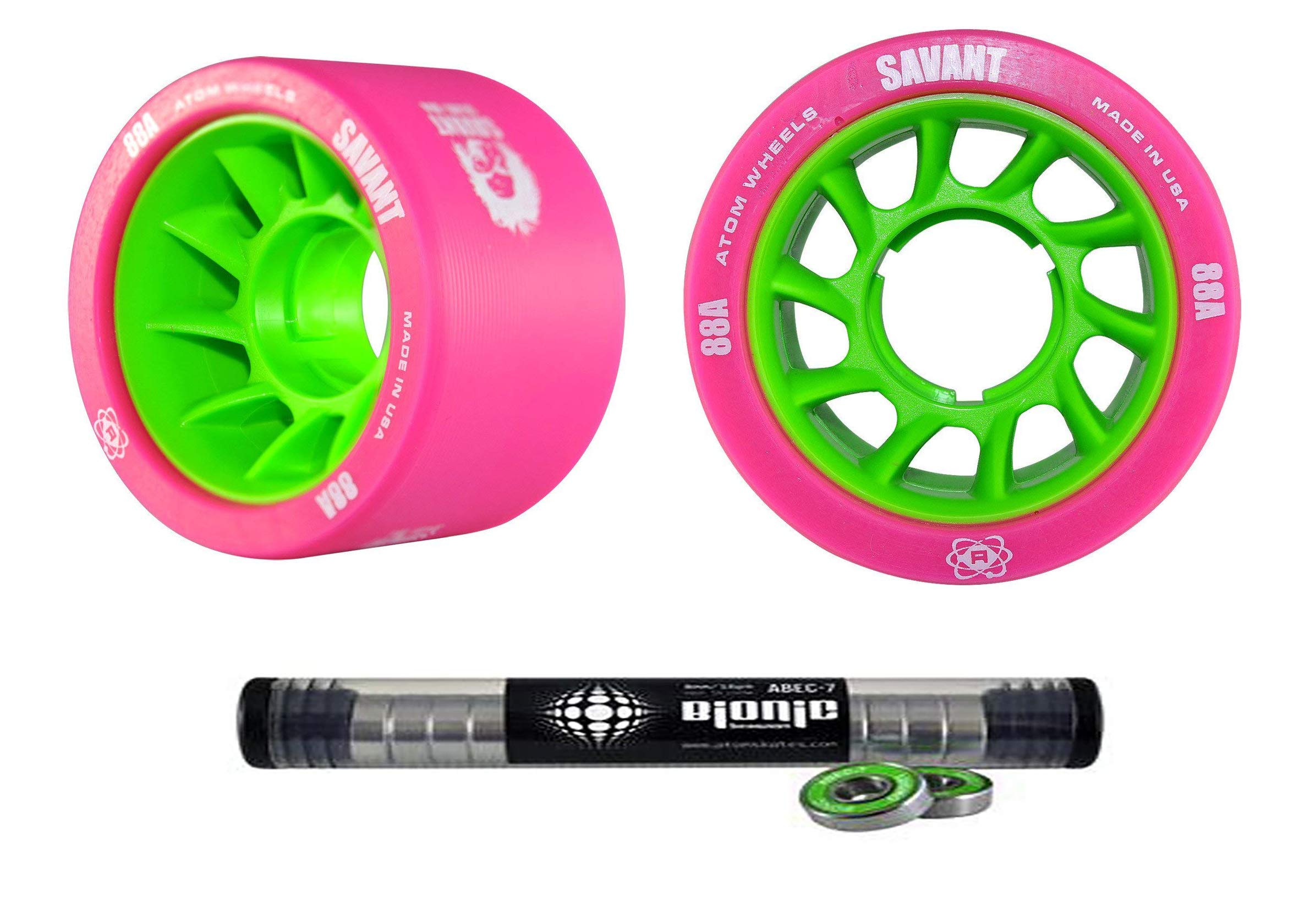 Atom Savant Skate Wheels with Bionic Bearings 8mm Full Set of 8 - Pink 88A by Atom Skates