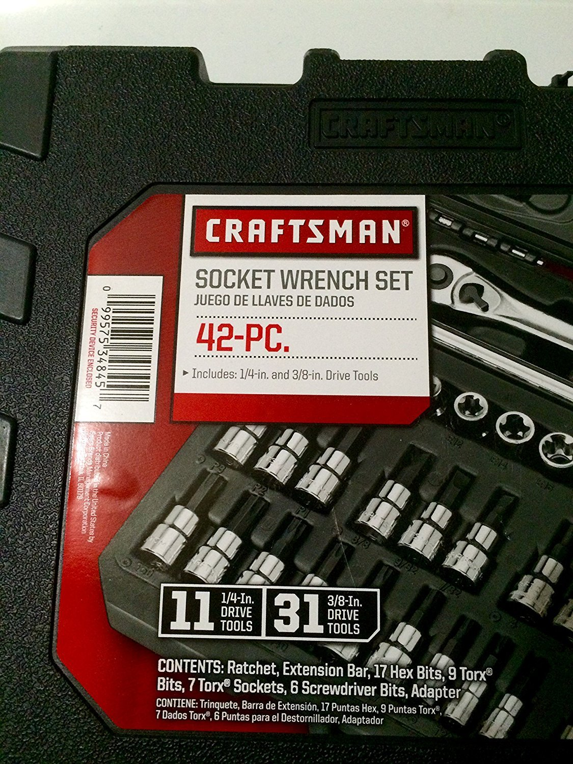 Craftsman 42 pc Drives 1//4 and 3//8 in Hex and Torx Bit Socket Super Set